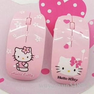 44565e92613 2019 Cute Cartoon Hello Kitty Women Office Mouse Creative Slim Silent  2.4Ghz USB Optical Wireless Mouse Universal Mice For Computer Laptop PC  From ...
