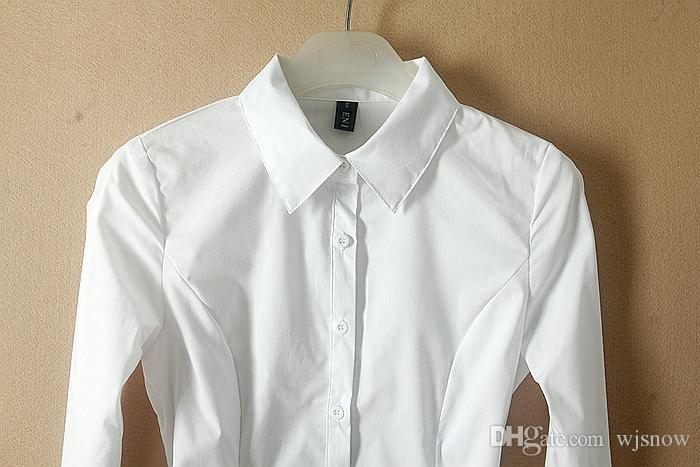 New Fashion Women Simple Design White Bodysuit Blouse Long Sleeve OL Career Slim Shirts Tops Clothing SMLXL