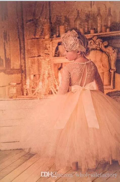 사랑스러운 아기 유아 유아 침례 의류 꽃 소녀 드레스 긴 소매 레이스 Tutu 공 가운 파티 드레스