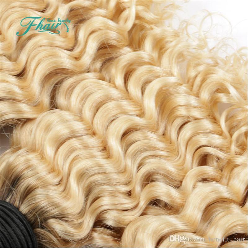 8A indiano profondo riccio 1b 613 capelli biondi con chiusura 3 pacchi con 4 * 4 chiusura del pizzo radici scure ombre i capelli umani con chiusura