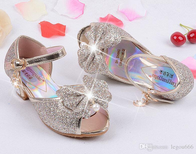 Enfants 2016 Kinder Prinzessin Sandalen Kinder Mädchen Hochzeit Schuhe High Heels Kleid Schuhe Party Schuhe Für Mädchen Rosa Blau Gold HJIA439