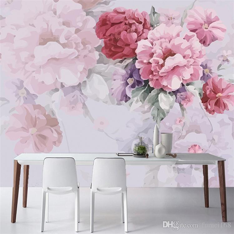 Amerikan Köy Pastoral Duvar Kağıdı Yatak Odası Oturma Odası TV Arka Plan Duvar Kağıdı El-boyalı Sıcak Çiçek Büyük Duvar Tuval