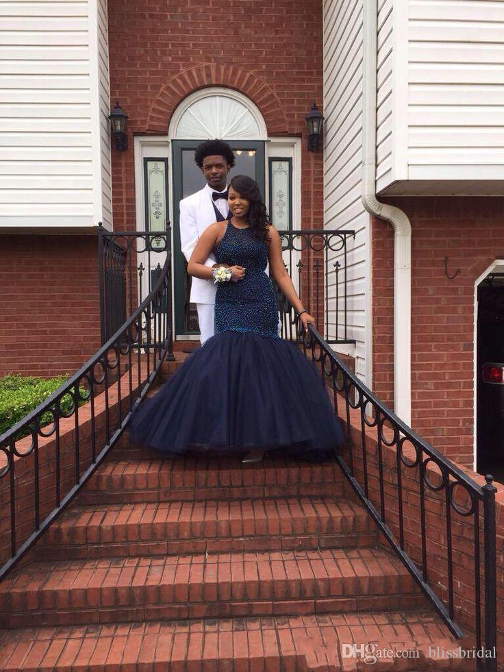 Navy Blue Plus Size Prom Dresses mermaid Beaded Afric Formal Women Party Gowns vestidos de fiesta 2016 Organza Evening Gowns