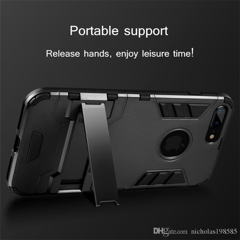 wholesale dealer 97a09 9584b Armor Iron Man Defense Phone Case for iphone X 7 8 Plus Cover Hard Case  Soft PC TPU Holder Within Full Body Protective Cases