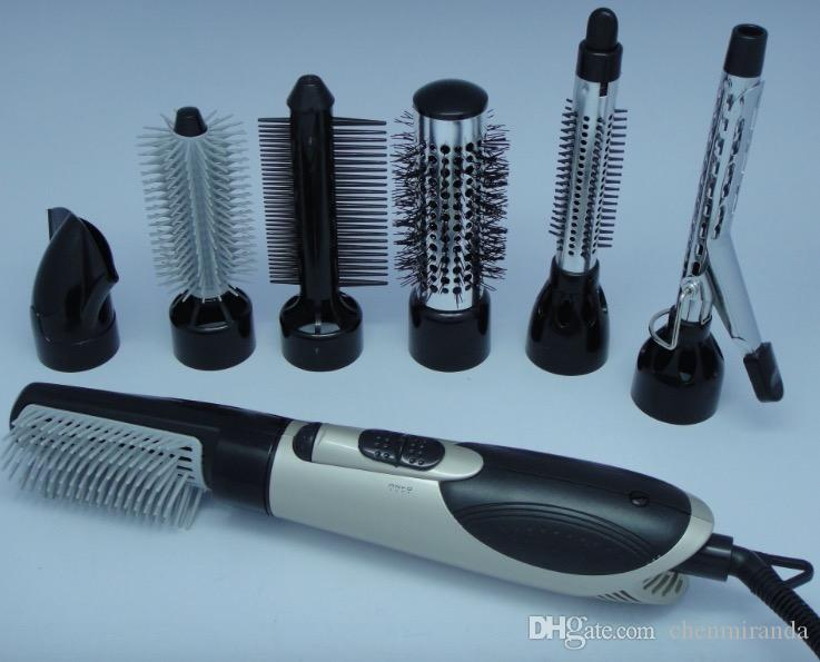 7 in 1 Hot Air Professional Hair Styler 3 Temperature 10V / 240V Hair Dryer Brush and Curling irons