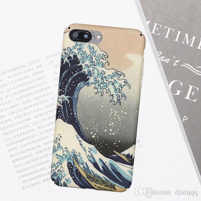 Telefon Kılıfı Için iphone 7 Durumda Karikatür Deniz dalga Okyanus Kapak Moda Sert iphone7 7 Artı Çapa Için Tam Koruyucu Kılıfla ...