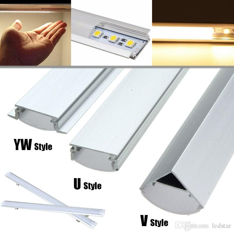 V/U/YW Shaped 30cm 50cm Aluminum LED Bar Lights Accessories Channel Holder  Milk/Clear Cover End Up for LED Strip Light