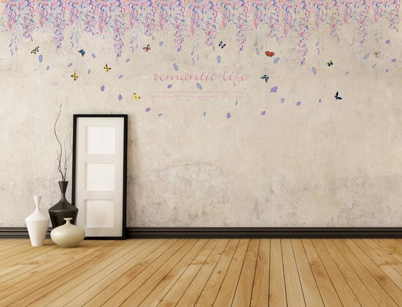 Großhandel Warme Romantische Diy Abnehmbare Tapete Lila Blumen Sockelleiste  Wand Aufkleber Wand Aufkleber Kunst Home Decor Von Qwonly_shop, $4.65 Auf  De.