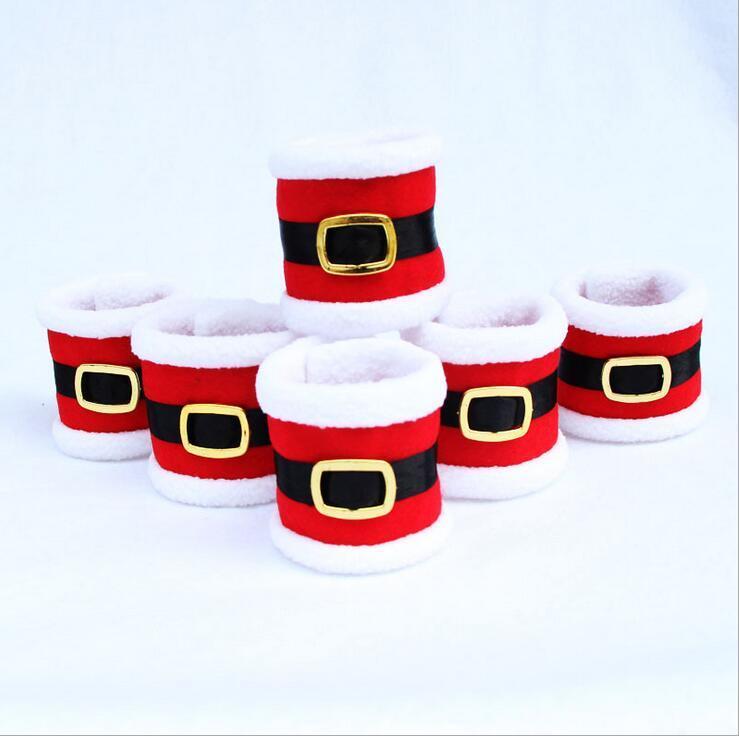 7*19cm red Christmas Santa towel napkin rings holder table dinner party elegant tableware decoration for home