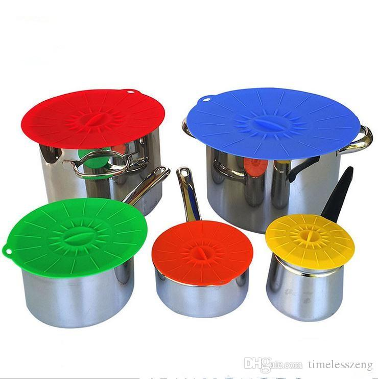 Silicone Preservation Lid Bowl Pan Cooking Pot Lid Reusable Suction Seal Covers Spill-proof Food Grade Silicone Pot Cover