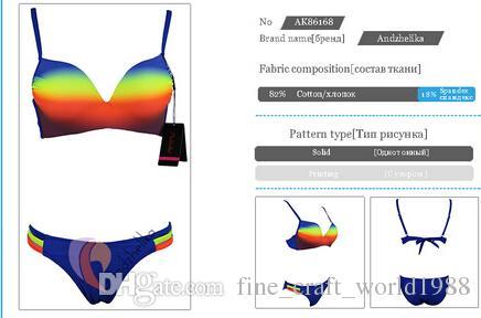 Yeni stil Andzhelika Mayo Kadınlar Seksi Bandaj Gökkuşağı Push Up Bikini Set Büyük Fincan Yastıklı Mayo Maillot de bain Monokini XXL