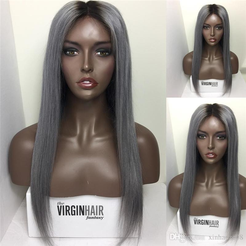 Vierge péruvienne # 1B / gris perruque de cheveux humains pleine dentelle bi-tons ombre 1b / gris perruques avant de dentelle blanchie noeuds pleine densité