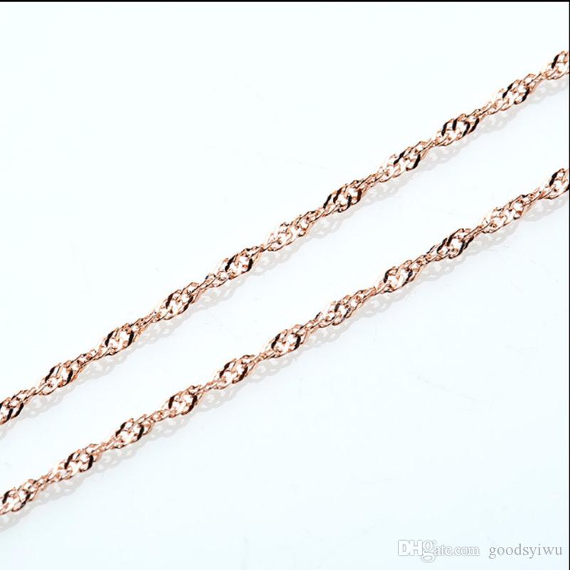 1.3mm 18inch Rose Gold Plated Water Wave Chain Necklace fit DIY kinds of Gold Necklace Jewelry PL009