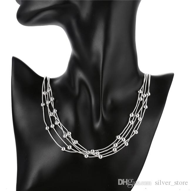 Christmas gift Five line light bead necklace sterling silver plate necklace STSN213,fashion 925 silver Chains necklace factory direct sale