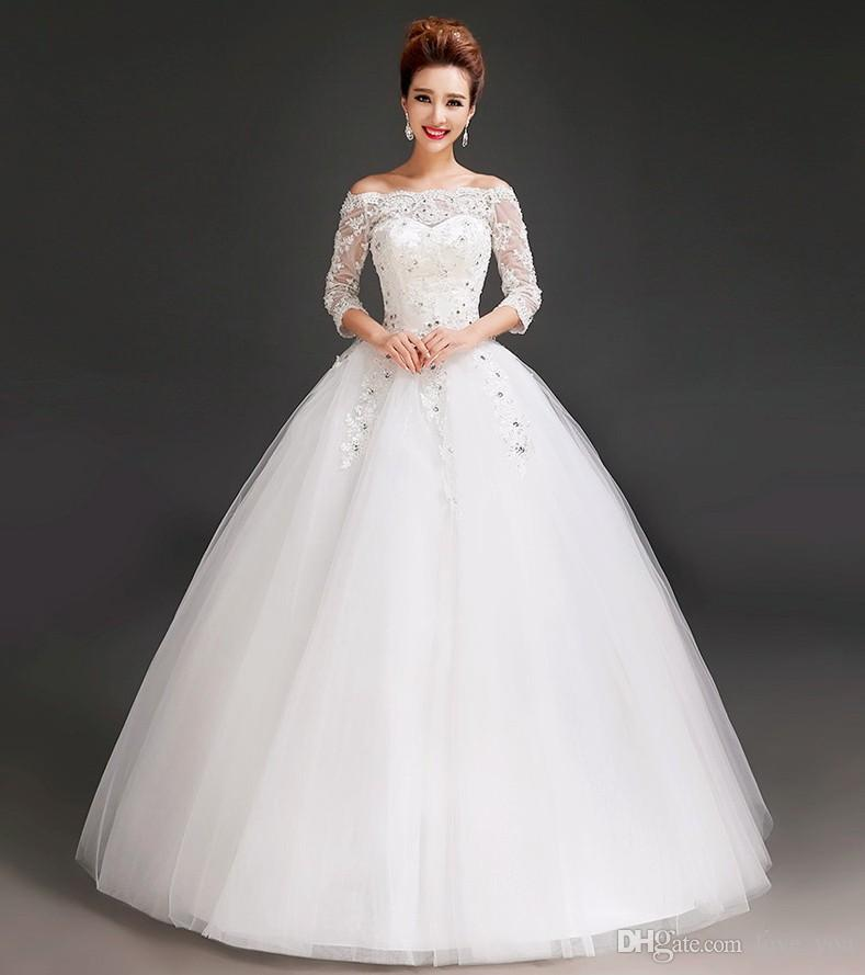 Bridal Dresses Built In Bra Applique Wedding Dress Three Quarter ...