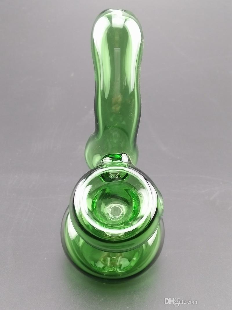 Изогнутые шеи стекла курительные трубки с Downstem сухой травы чаша для табака зеленый цвет 11 см высота аксессуары для курения бонги BEP01