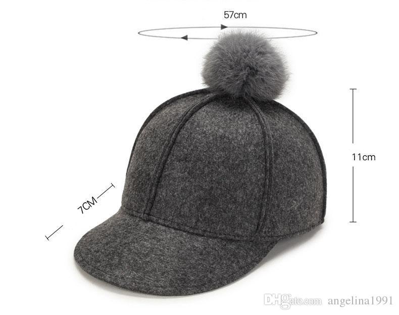 Winter Baseball Cap Women With Fur Ball Warm Winter Hats For Women Pompom Pom Pom Snapback Bone Female Windproof