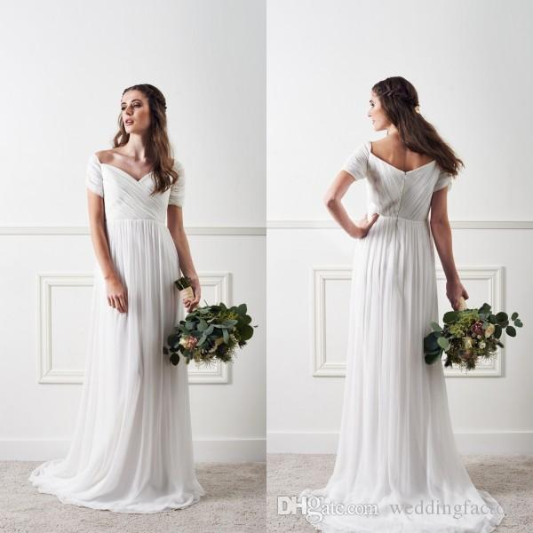 Simple But Elegant Beach Wedding Dresses Country Style Ruched