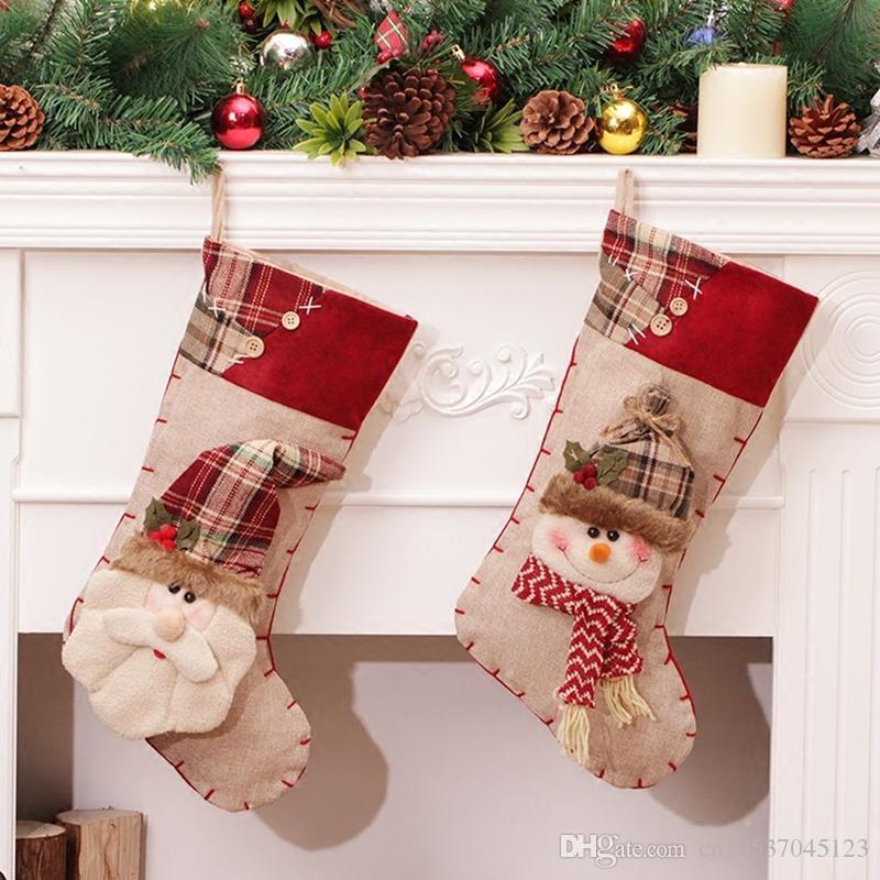 1089e720b Christmas Stocking Santa Claus Sock Gift Bag Kids Xmas Noel Decoration  Candy Bag Christmas Tree Ornaments Supplies Kerst 2017 Christmas Stocking  Christmas ...