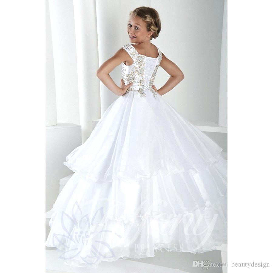 Long Kids Girl's Pageant Party Abiti Cap Maniche Lace Up Back Princess Tiered Tulle in cristallo Flower Girl Abiti Abiti adolescenti Bo9920