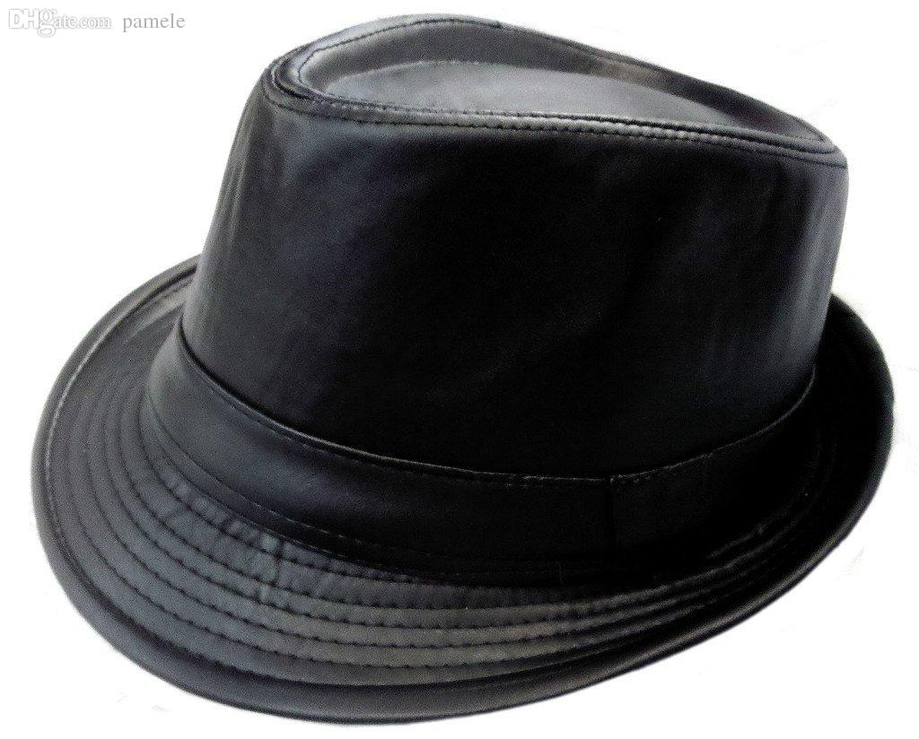Wholesale-Black Leather Fedora Hat Leather Hat Cap-Fedo Gangster Trilby Cap  Hat Shelf Hats Bull Cheap Hat Shelf Online with  36.16 Piece on Pamele s  Store ... cd1f19515c3
