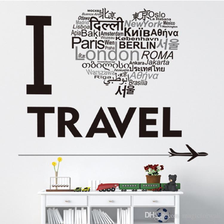 Я люблю путешествия самолет стены стикеры Home Decor стены искусства настенной росписи плакат декоративные настенные аппликации известные достопримечательности форма сердца любовь графический