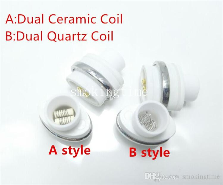 2016 HOT!! wax ceramic dual quartz coils for micro g dry herbal vaporizers pen Wax elip atomizer e cigarette g pro vaporizer pen Coils