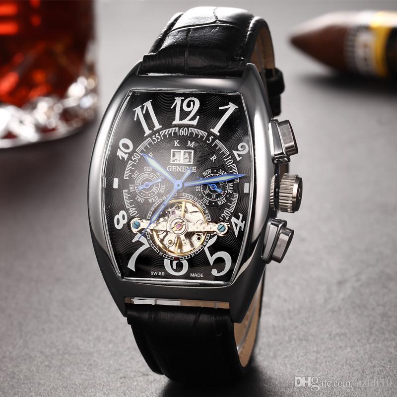 a25780f6f4e Marca de luxo Relógio Automático Dos Homens de Prata Caso Mostrador Branco  de Aço Inoxidável Calibre Marca 8880 Assista Analógico de Vidro de Volta  Assista ...