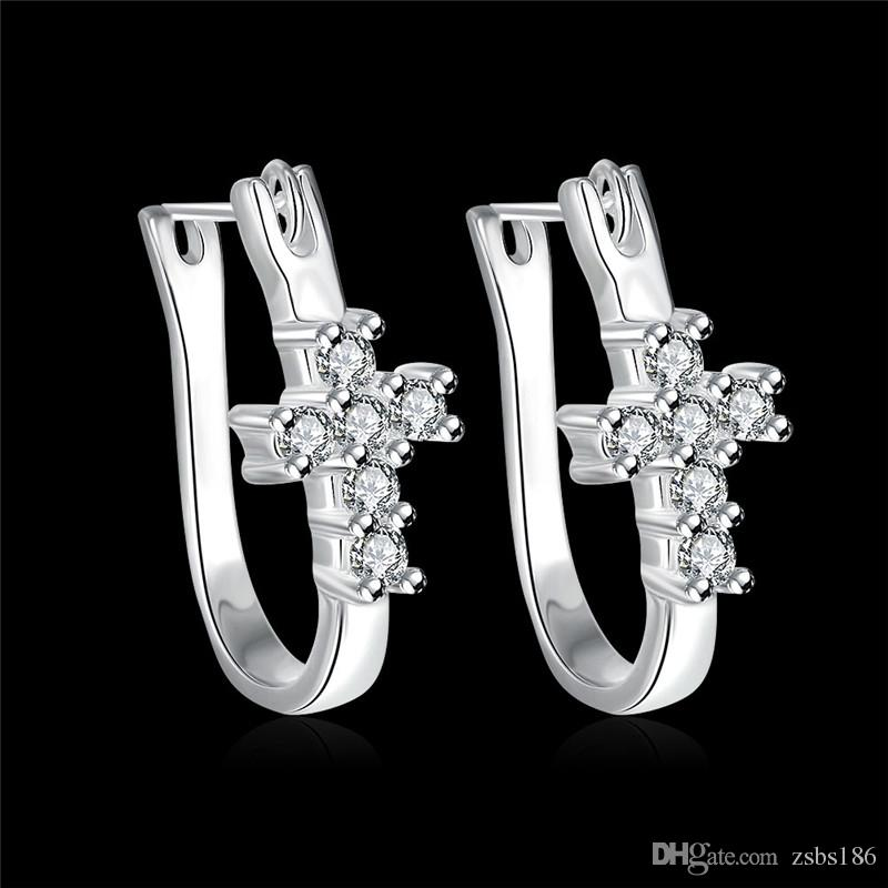 Fashion cross stud earrings 925 sterling silver plated & zircon charm jewelry for women selling Christmas gift