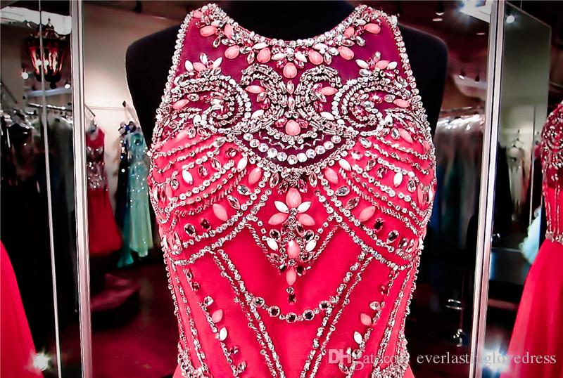 Hot Pink Chiffon Prom Dress Collo alto Illusion Torna Cristalli abito da sera impreziositi da scintillanti perline vestito da spettacolo