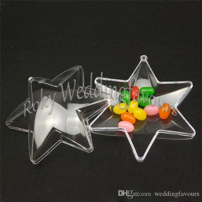 FREE SHIPPING 24PCS Clear Star Candy Boxes Children's Days Party Faovr Boxes Baby Shower Birthday Party Decoration Supplies