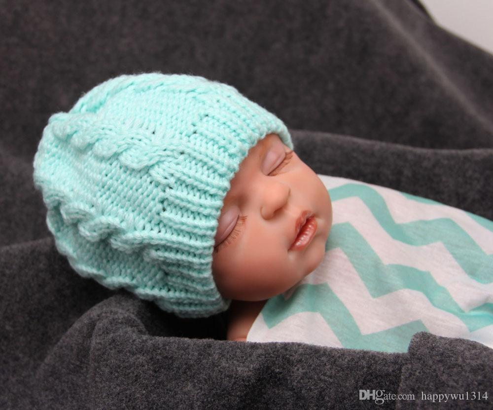 Baby Wool Crochet Hat Knitted Cotton Caps for Girls Newborn Toddlers Winter Autumn Soft Comfort Warm Sleep Cap Headwear Photography Props
