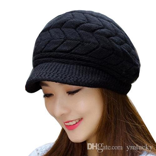 Compre 2018 New Fashion Inverno Gorros De Malha Chapéu Das Mulheres Chapéus  De Inverno Para As Mulheres Senhoras Beanie Gorros Skullies Caps Gorro De Lã  ... fd57c924029