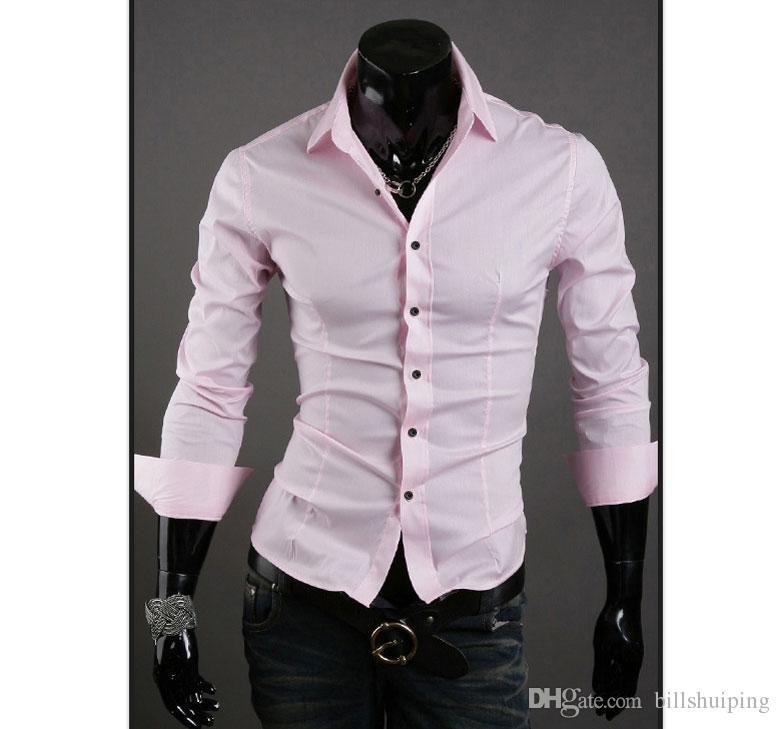 Ücretsiz Kargo Erkek Slim fit Benzersiz yaka şık erkek Elbise uzun Kollu Gömlek erkek Giyim sıcak