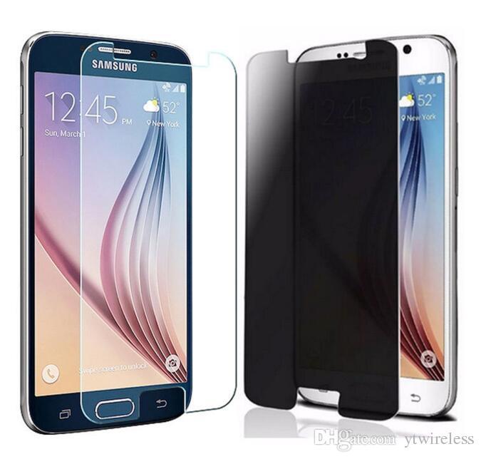 Pour Samsung E7 A8 A10E A20 S7 Edge S8 S9 Plus Protecteur D'écran En Verre Trempé Anti-Espion Protégé Protégé Mince Flim Emballage En Papier