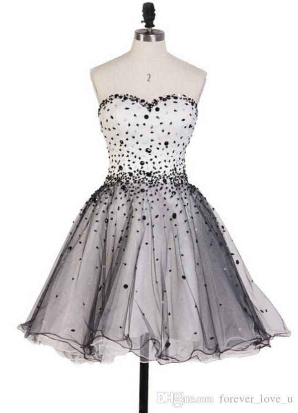 새로운 패션 짧은 동성애자 드레스 라인 아이보리와 블랙 얇은 졸업 졸업 졸업 파티 가운 사용자 정의 레이스 업 싼