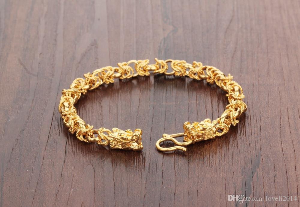 2016 جديد الموضة الجديدة 24 كيلو الذهب الأصفر مطلي رجل أساور خمر التنين رئيس نمط سلسلة ربط الرجال سوار مجوهرات 22 سنتيمتر طويلة KS445
