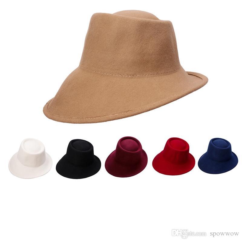 Unisex Special Design 100% Wool Felt Tilt Asymmetrical Brim Wedding Church  Cloche Fedora Casual Hat T289 Panama Hats Fedora Hats From Spowwow aa0f61e92a58