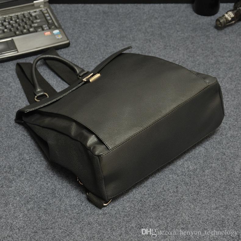 2016 패션 빈티지 캔 캔버스 + PU 가죽 배낭 메신저 가방 서류 가방 13 인치 노트북 가방