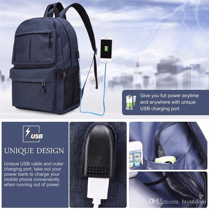 USB Charging Port Outdoor Oxford Lightweight Casual Business Laptop School Backpack Large Capacity Camping Hiking Travel Organizer Bag Pack