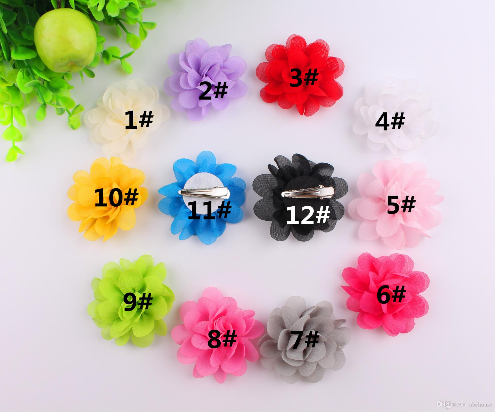 35common Camellia Rose Flower Hair Clips Satin Silk Chiffon