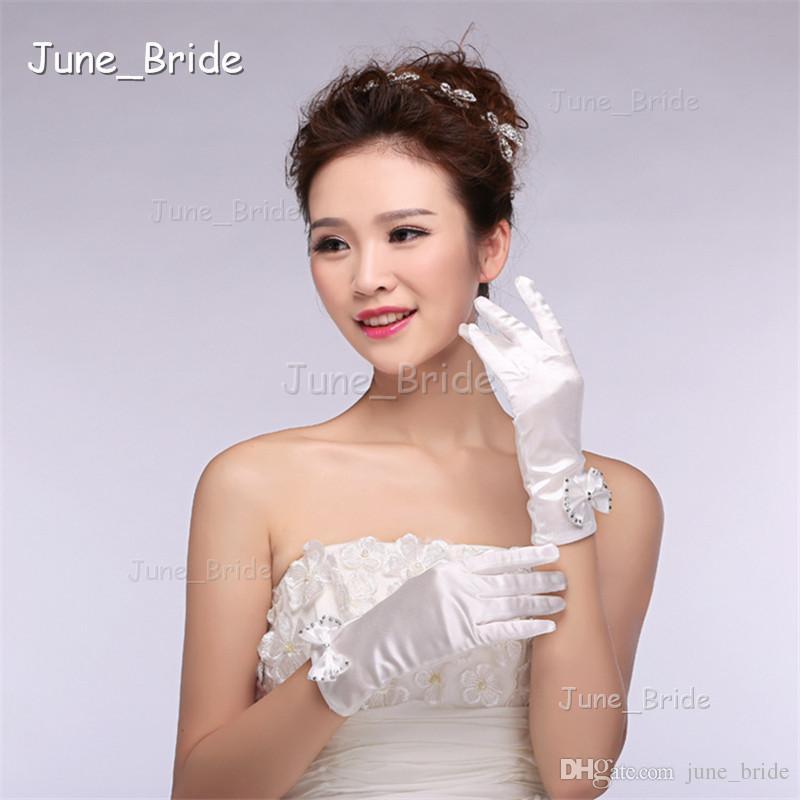 Short White Bow Bridal Gloves Full Finger Wrist Length High Quality Satin Wedding Party Gloves New Style