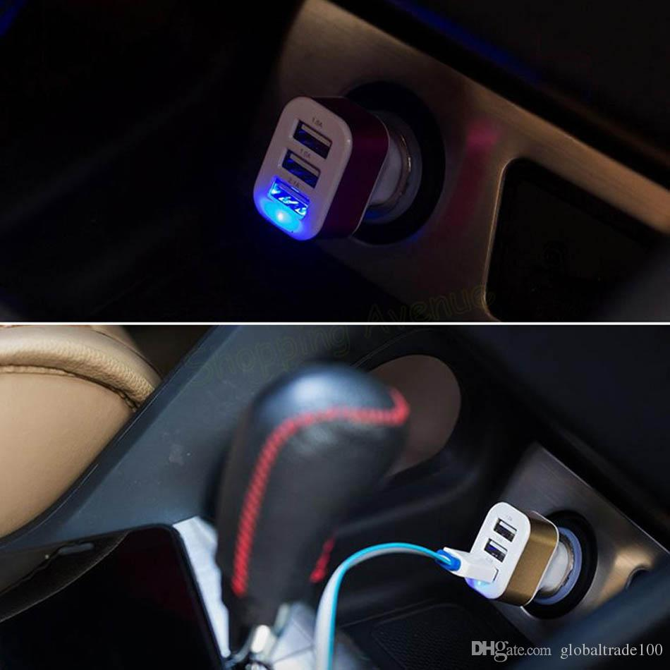 Triple Universal USB Car Charger 3 Port Car-charger Adapter Socket 2A 2.1A 1A Car Styling USB Charger Free DHL Shipping