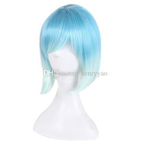 Women Cosplay Wig Short Animation Bob Hair Wigs Side Bang Ombre Blue White Colorful Synthetic Heat Resistant Wig