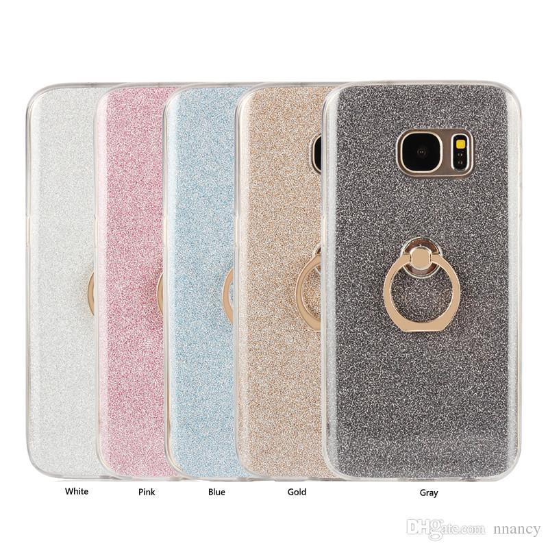 Cas léger élégant pour Samsung Galaxy S6 S7 Edge Galaxy Note 8 Couverture en métal Anneau Antichoc Couverture Coque Téléphone shell