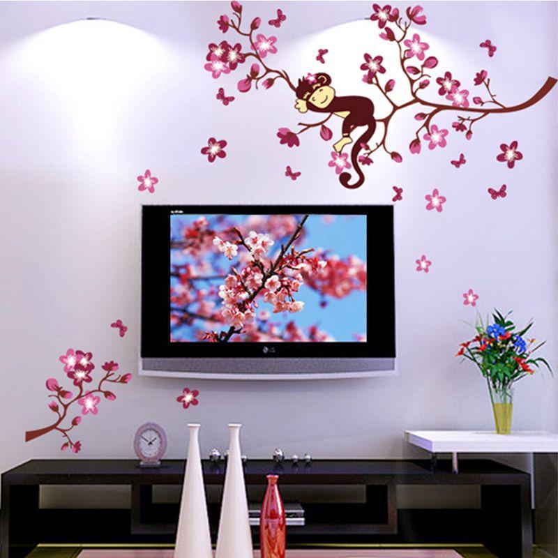 لطيف القرد والوردي زهرة زهر شجرة جدار الفن ديكور صائق الطفلات غرفة الحضانة الاطفال الأطفال نوم للإزالة الجدار ملصق