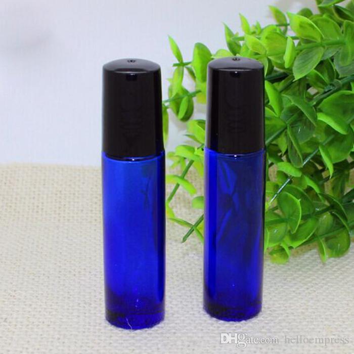 10ml Blaue Glasrollflaschen mit Metallkugel für Ätherisches Öl Aromatherapie-Parfums und Lippenbalsam-freies Verschiffen-Glas bilden Flaschen