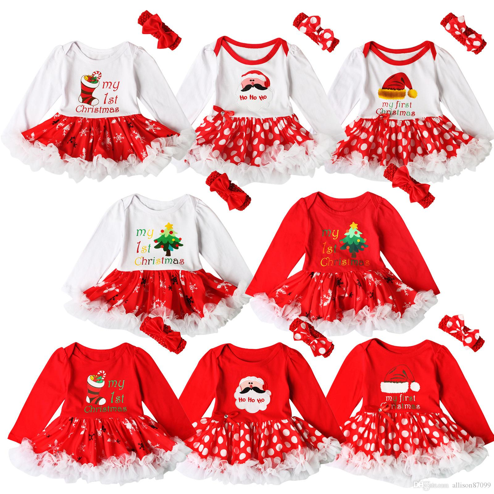 f5ea5d03f8845 INS Baby girls Christmas Red Romper tutu dress 2pcs sets My 1st Christmas  Letters Dots dress With bow headband Infants cute Outfits