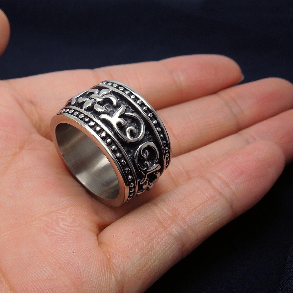 Best Mens Biker Rings For Men Geometric Siver Ring Couple Fashion Engagemen Unisex Relief Real