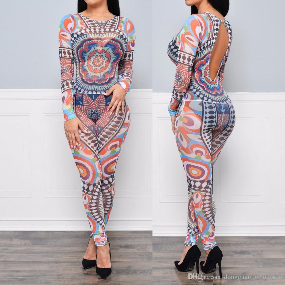 c717ca7fd6 2017 Women Sheer Mesh Backless Sexy Jumpsuit Plus Size Long Sleeve Aztec  Tribal Printed Bodysuit Slim Bodycon Bodysuits